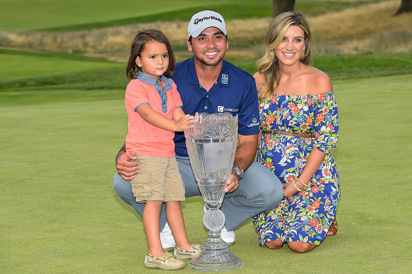 EDISON, NJ - AUGUST 30: Jason Day of Australia, his wife Ellie and son Dash pose with the championship trophy following his six-stroke victory in the final round of The Barclays at Plainfield Country Club on August 30, 2015 in Edison, New Jersey. (Photo by Chris Condon/PGA TOUR)